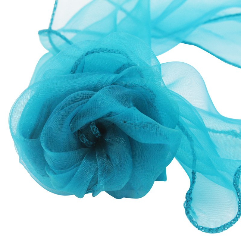 Costbuys  100pcs 18x275cm Organza Chair Sashes Chair Cover Bows Wedding Favors Party Home Decorations - teal blue
