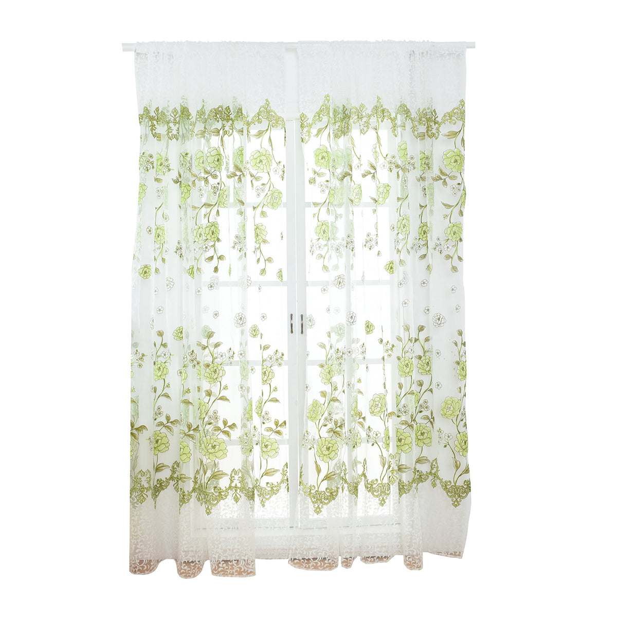 Costbuys  Sheer Floral Curtains Home Decor Window Treatments Modern Curtain Pour Le Salon Window - Green
