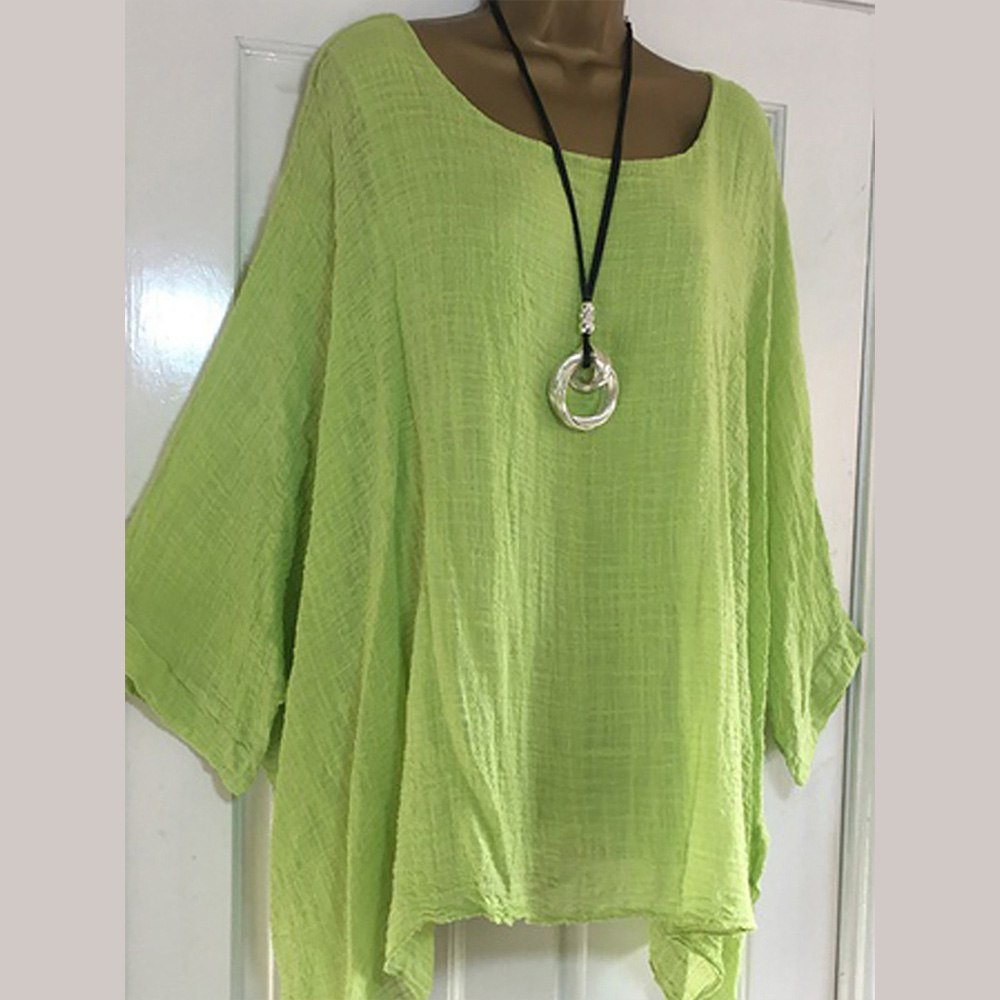Costbuys  5XL Loose Solid Women Blouse Casual Batwing Sleeve O Neck Plus Size Tops Autumn Asymmetric Long Sleeve Tops Shirts Blo