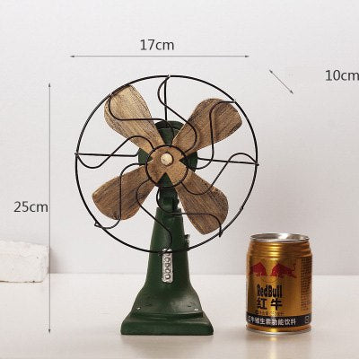 Costbuys  Home Decoration Accessories Vintage Fan Miniature Figurines Home Decor Gifts Ornament - Green