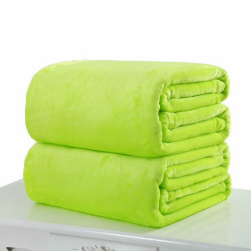 Costbuys  Small Super Warm Solid Warm Micro Plush Fleece Blanket Throw Rug Sofa Bedding - Green