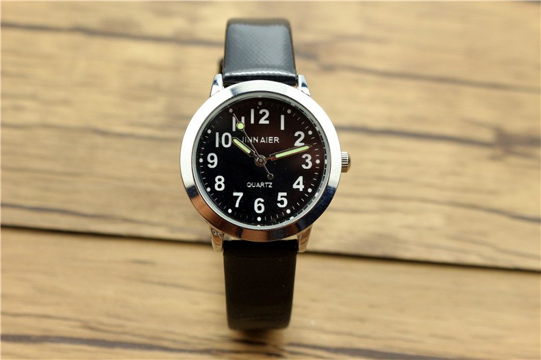 Costbuys  Children lovely 7 colors dial leather watch little boys and girls luminous hands gift clock - Black