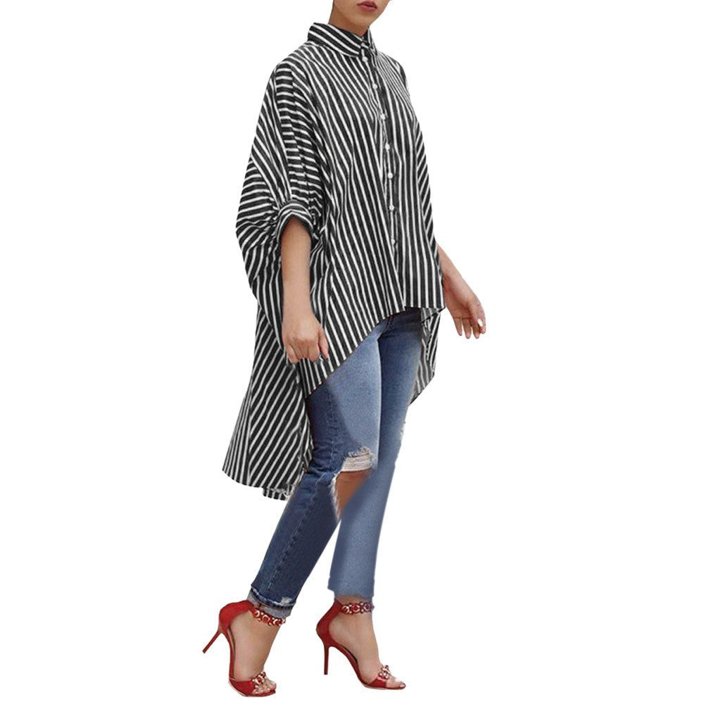 Costbuys  Women clothes Cotton Striped Three Quarter Sleeve Shirt Casual Loose Blouse Button Tops - Black / S / China