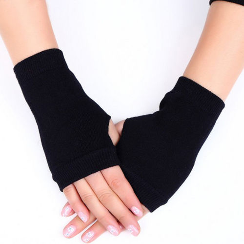 Costbuys  Women Gloves Winter Warm Half Finger Ladies Knitted Mitten Gloves UK - Black