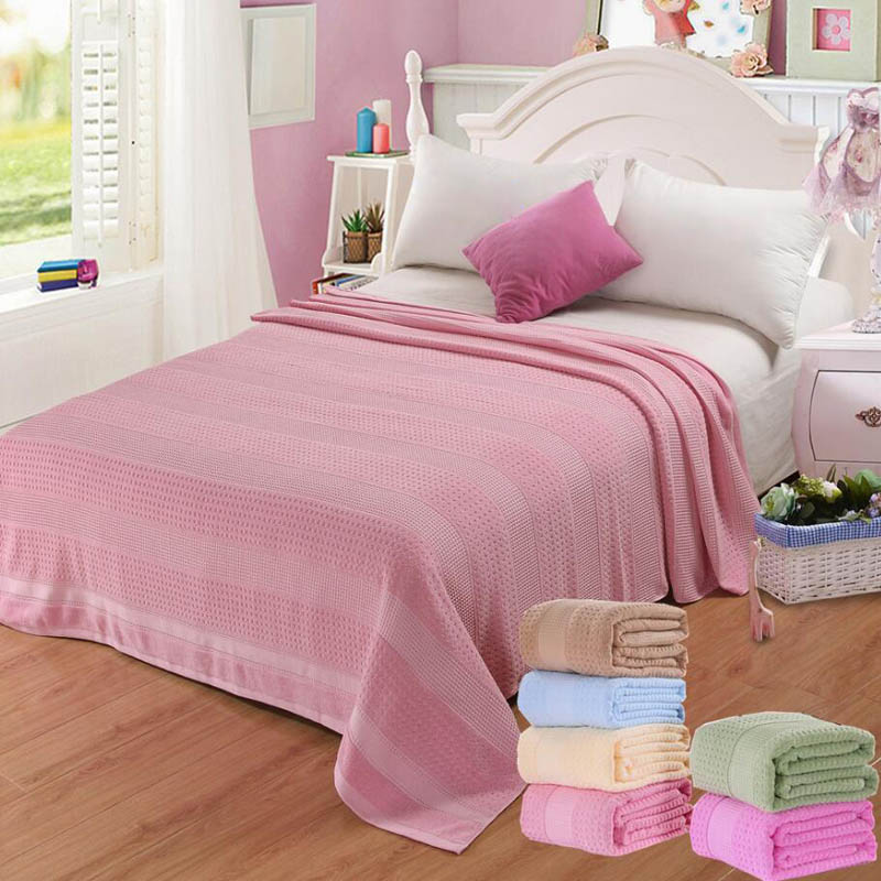 Costbuys  100% Cotton Adult Towel Blanket Bed Summer Quilts Bedspread Sofa Throws Office Travel Sleeping Air Conditioning - ligh