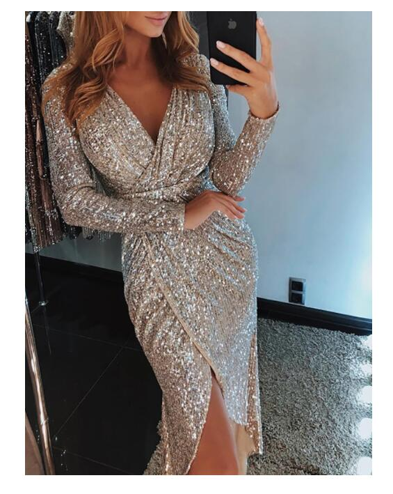 Costbuys  Dresses Winter Dress Women Split Dress Sexy Evening Party Dress Bandage Elegant Autumn V-Neck Clothes - Champagne / S