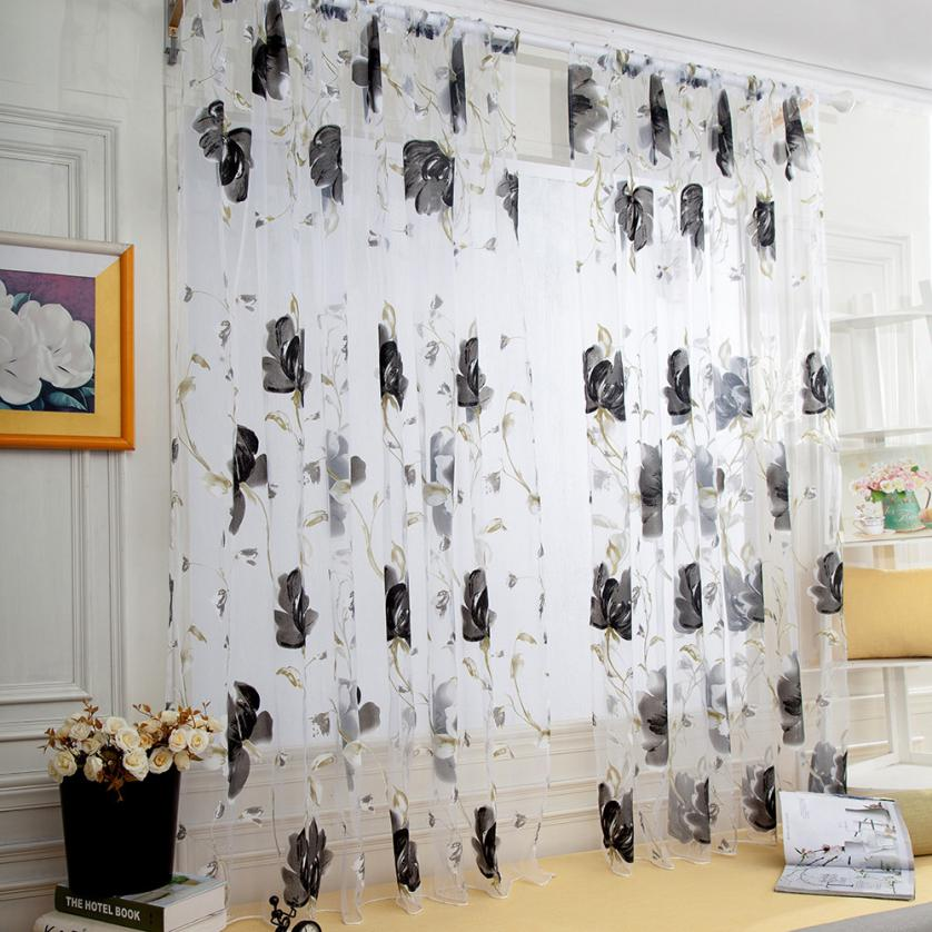 Costbuys  1 PCS Vines Leaves Tulle Door Window Curtain Drape Panel Sheer Scarf Valances fabrics organza sheer panel window treat