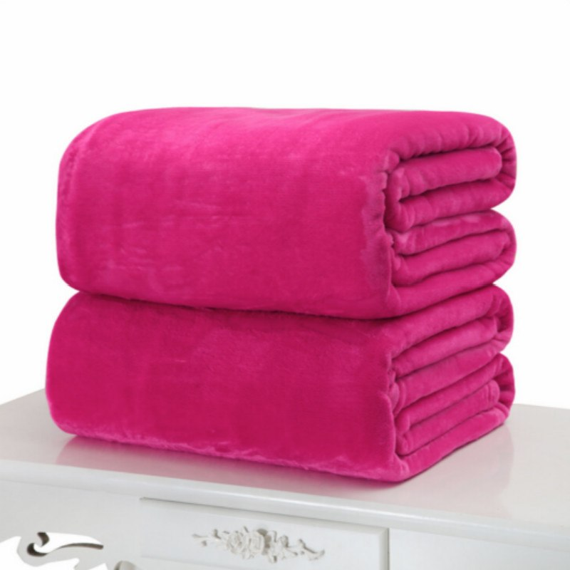 Costbuys  Small Super Warm Solid Warm Micro Plush Fleece Blanket Throw Rug Sofa Bedding - Rose red