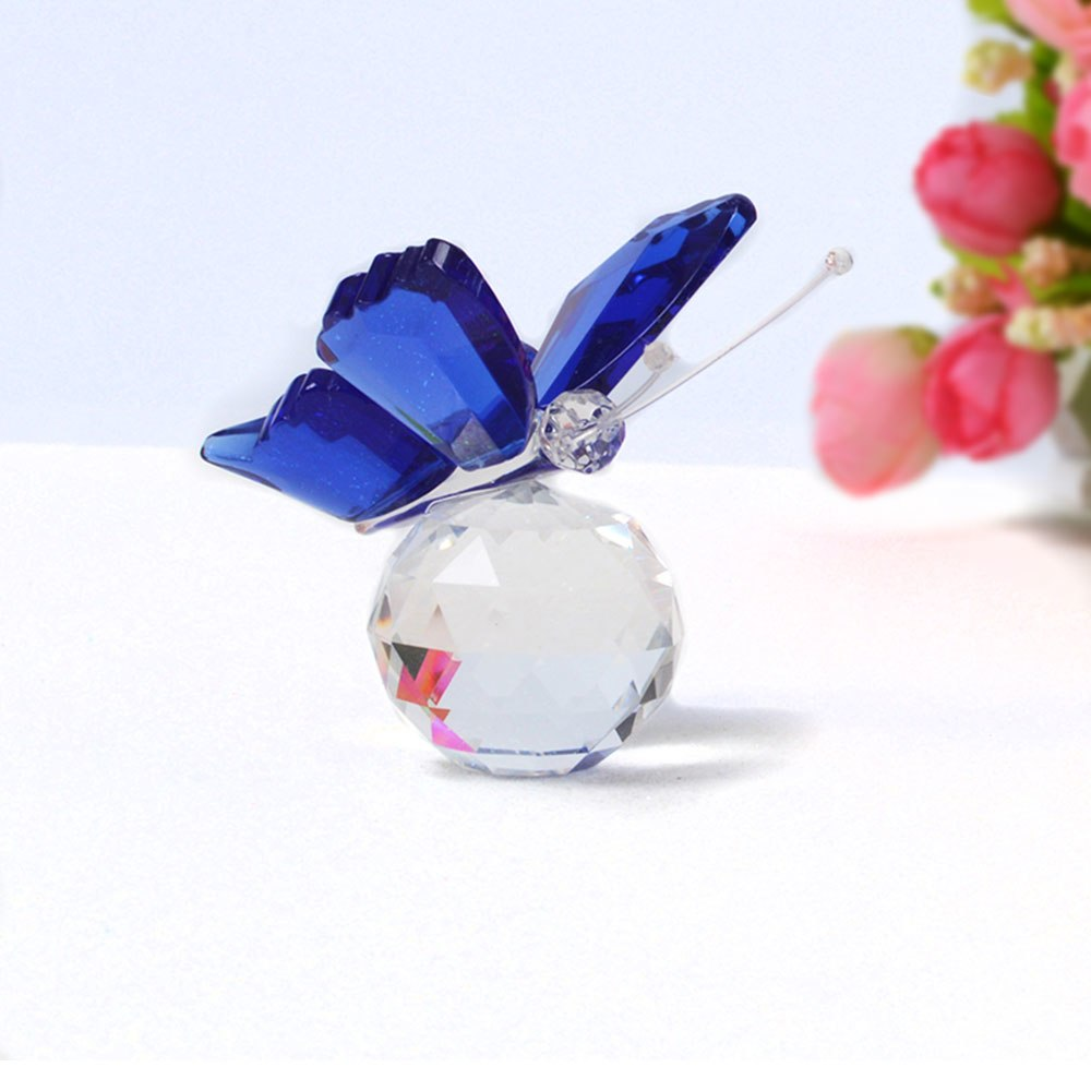 Costbuys  Butterfly Glass Animal Craft Wedding Gifts For Guests Home Decoration Accessories - Blue