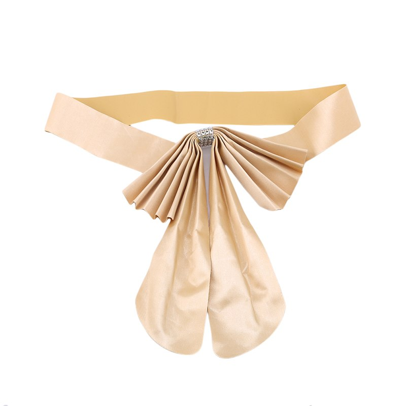 Costbuys  20pcs/pack Bow Tie Ribbon Bands Chair Sashes Home Decorative Banquet Seat Decoration Sashes For Wedding - Champagne go