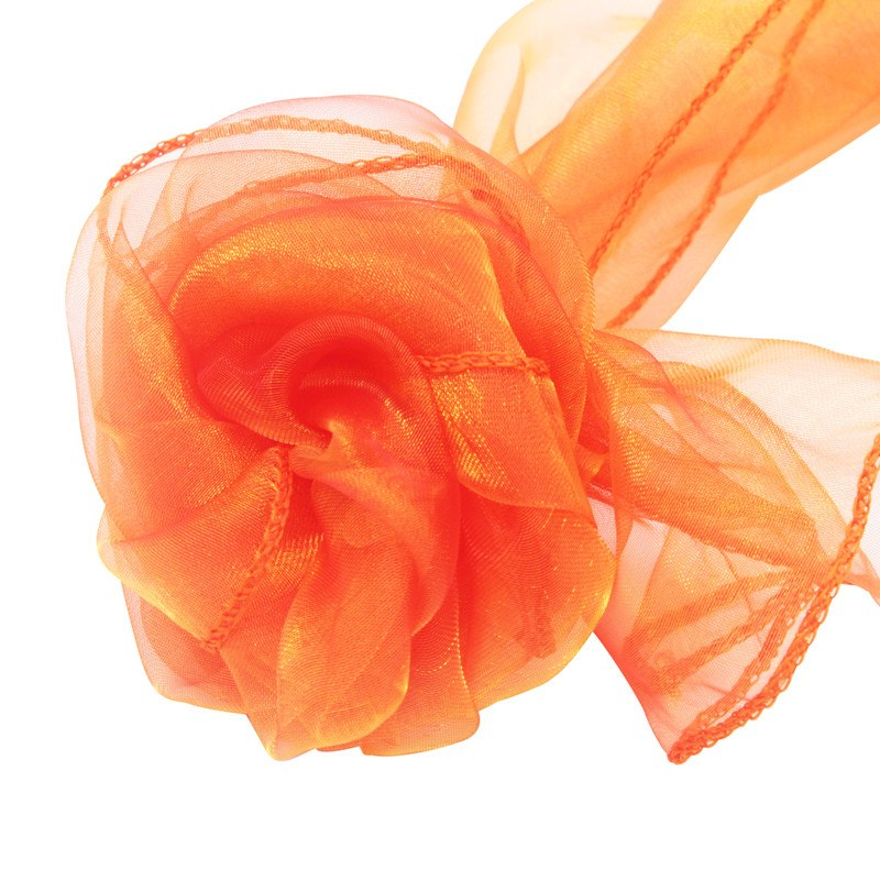 Costbuys  100pcs 18x275cm Organza Chair Sashes Chair Cover Bows Wedding Favors Party Home Decorations - coral orange