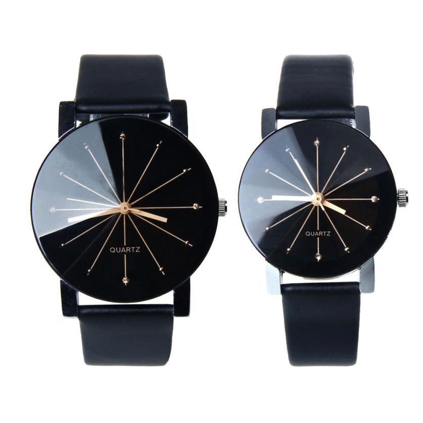 Costbuys  1Pair Men and Women Quartz Dial Clock Leather Wrist Watch Round Case Lovers Watches Women Men - 1Pair Men and Women