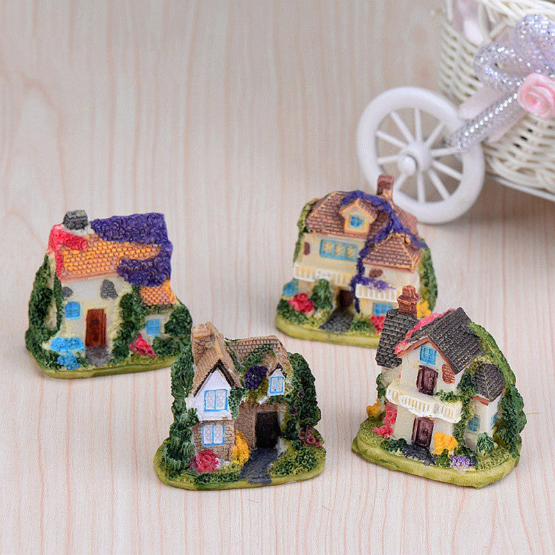 Costbuys  Cute Mini Resin House House Fairy Garden Micro Landscape Resin Crafts Modern Gift Home Garden Decoration Accessories -