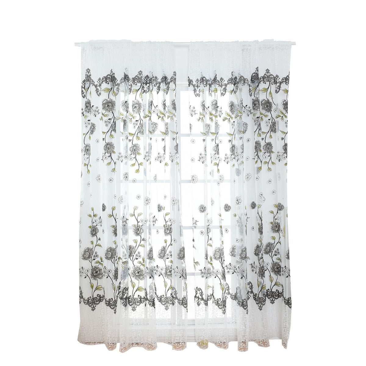 Costbuys  Sheer Floral Curtains Home Decor Window Treatments Modern Curtain Pour Le Salon Window - Light Grey