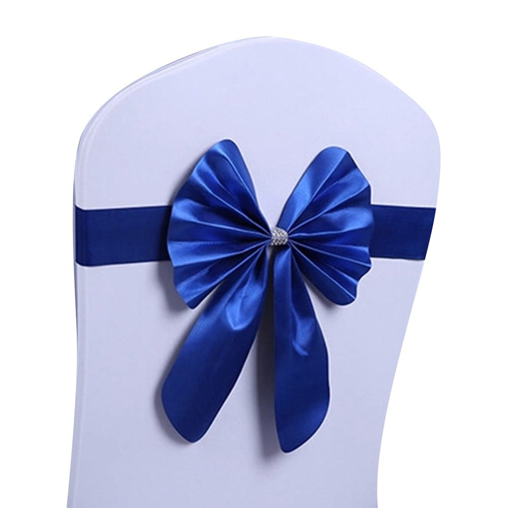 Elastic Mercerized Leather Rabbit Bow Chair Cover Sash Bands Wedding Party Decor