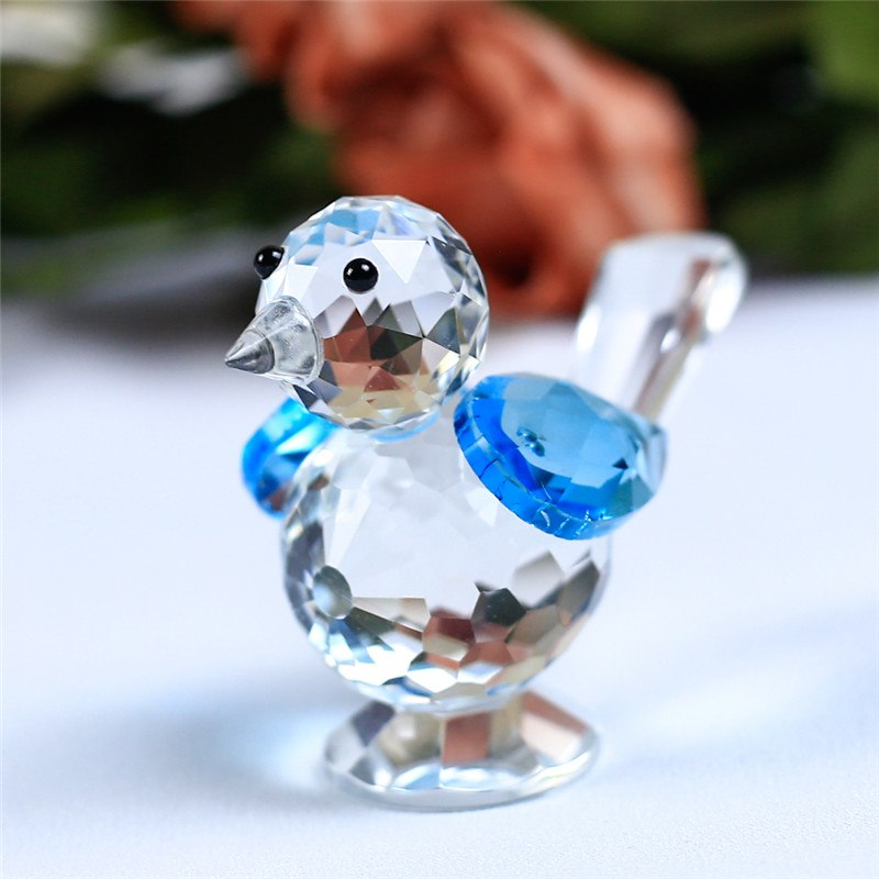 Costbuys  1 Piece Cute Glass Animal Sparrow For House Home Decoration Accessories Gifts - Blue