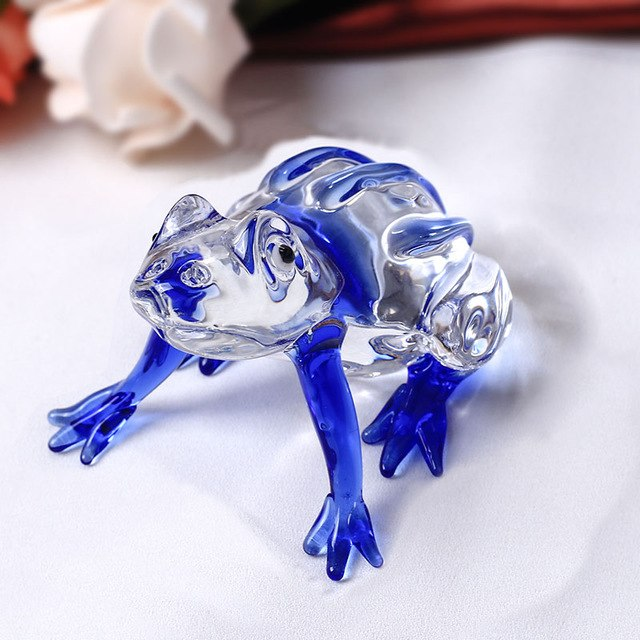 Costbuys  Cute Frog Glass Animal For House Ornaments Home Decoration Accessories Gifts - Blue