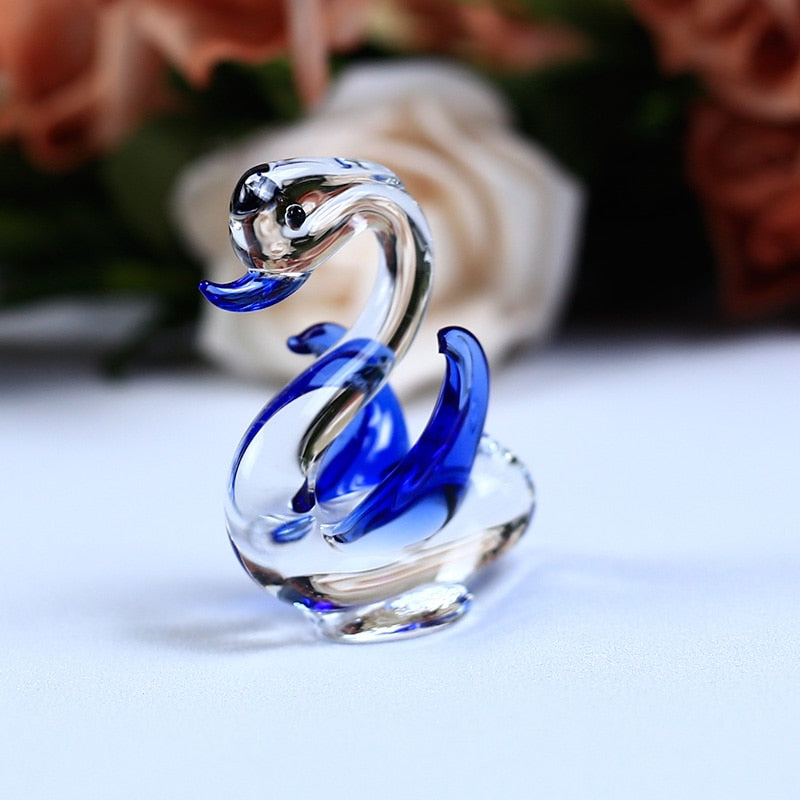 Costbuys  1PC Handmade K9 Crystal Swan Glass Animal Crafts for Home Decoration Accessories Gifts 6 Colors - Blue