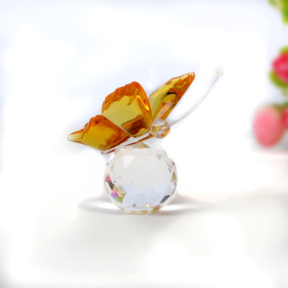 Costbuys  Butterfly Glass Animal Craft Wedding Gifts For Guests Home Decoration Accessories - Yellow