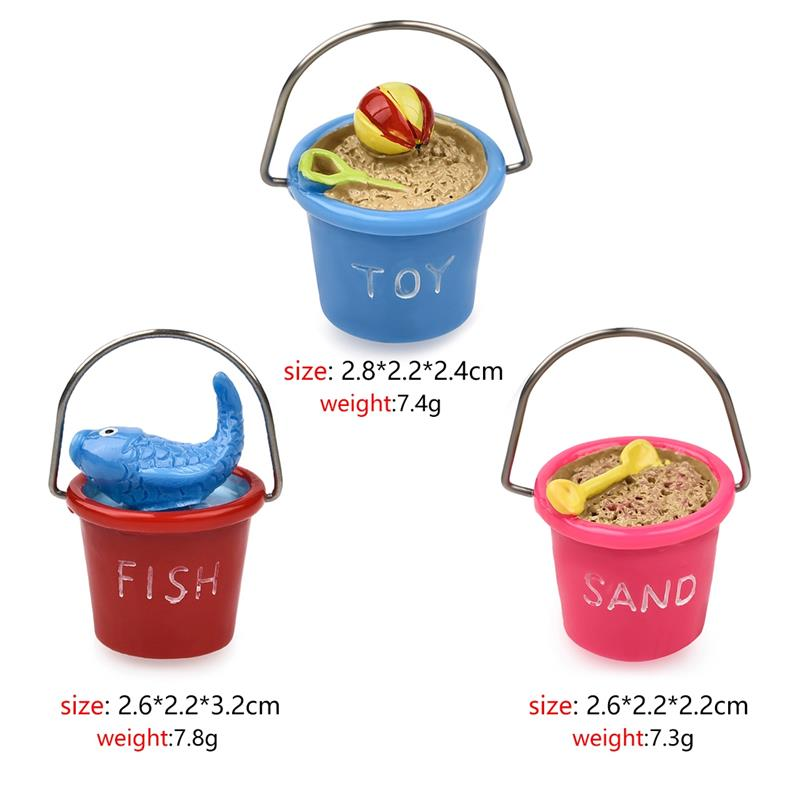 Costbuys  3pcs/Set Cute Miniature Beach Bucket Craft Accessory Home Garden Decoration Accessories - as the picture