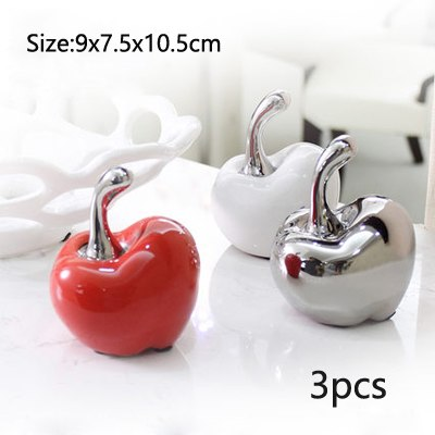 Costbuys  2Pcs Apple Miniatures Arts Crafts red/white/silvery Ceramic fruit Plant Figurines garden decoration home decoration ac