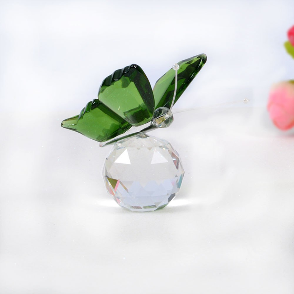 Costbuys  Butterfly Glass Animal Craft Wedding Gifts For Guests Home Decoration Accessories - Green