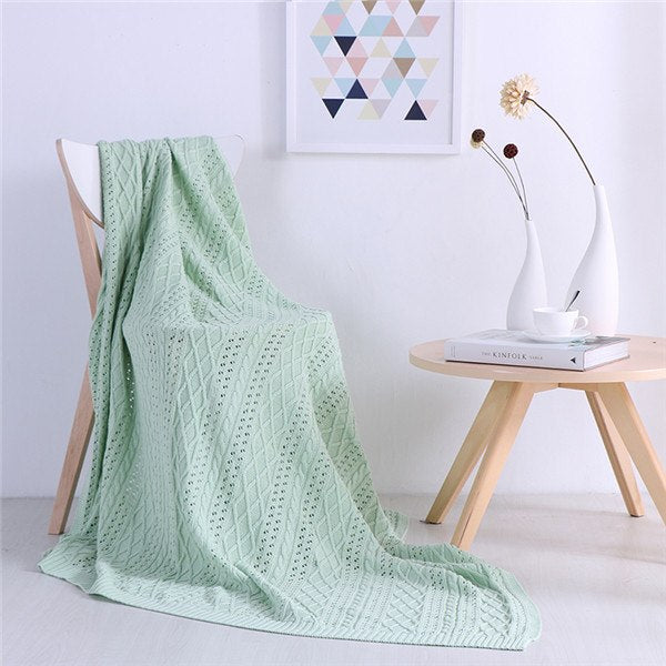 Costbuys  130x160cm Cotton Knitted Blanket Spring Autumn Solid Color Throw Blanket For Adult Air Sofa On the Bed Blankets Bedspr