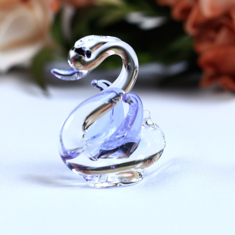 Costbuys  1PC Handmade K9 Crystal Swan Glass Animal Crafts for Home Decoration Accessories Gifts 6 Colors - Purple
