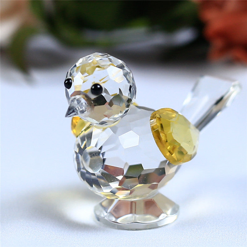 Costbuys  1 Piece Cute Glass Animal Sparrow For House Home Decoration Accessories Gifts - Yellow
