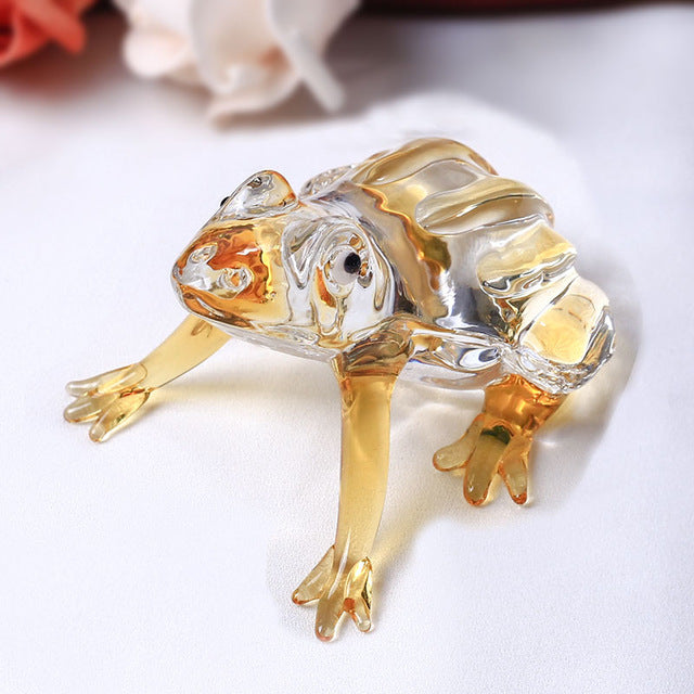 Costbuys  Cute Frog Glass Animal For House Ornaments Home Decoration Accessories Gifts - Yellow