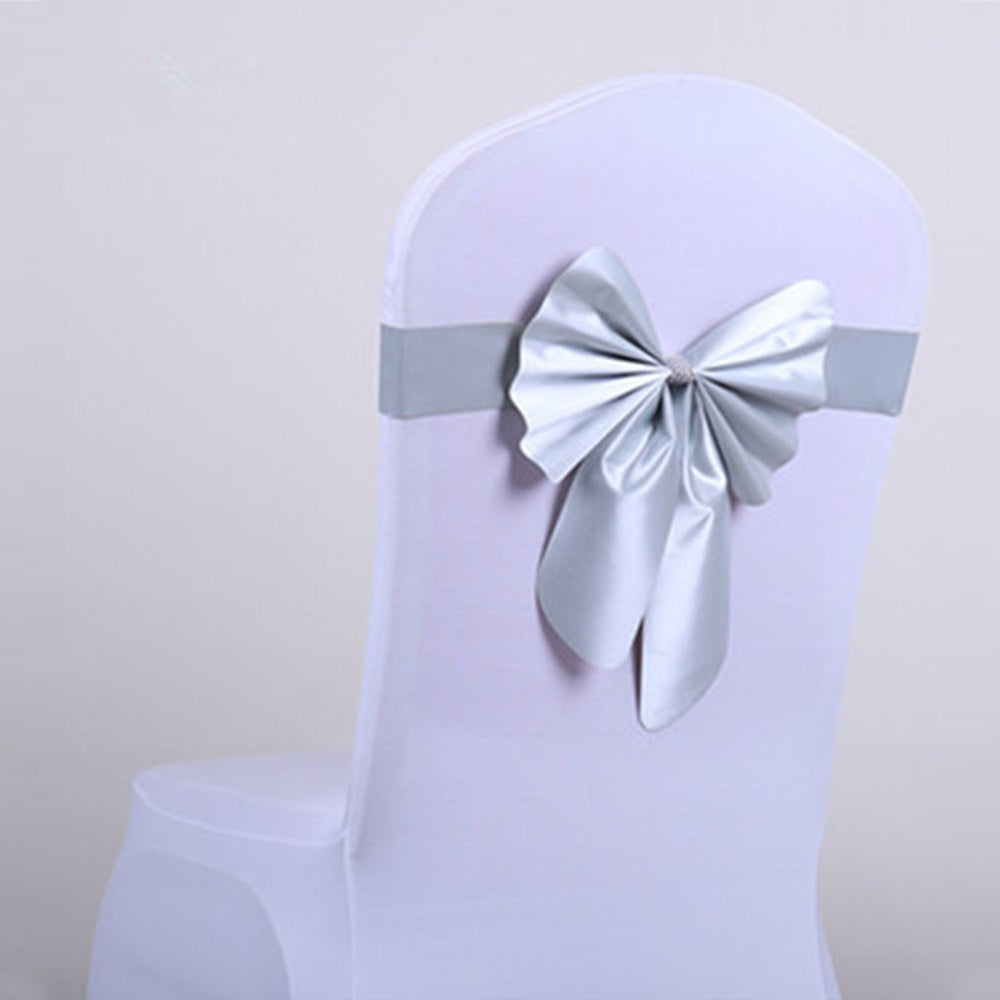 Wedding Chair Cover Sash Bow Tie Ribbon Decoration Wedding Party Supplies 13 Colors