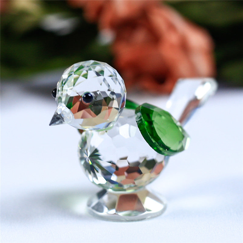 Costbuys  1 Piece Cute Glass Animal Sparrow For House Home Decoration Accessories Gifts - Green