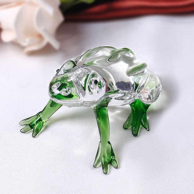 Costbuys  Cute Frog Glass Animal For House Ornaments Home Decoration Accessories Gifts - Green