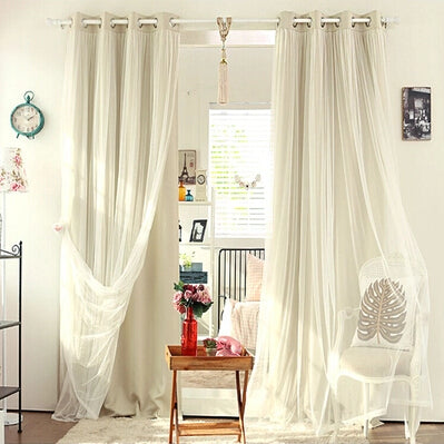 Costbuys  Double Layer Summer Shade Curtain For Bedroom Living Room Curtain Window Treatment Blind Tulle Set - Beige / W100cmxH2