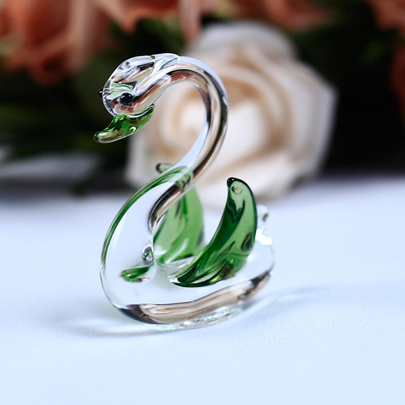 Costbuys  1PC Handmade K9 Crystal Swan Glass Animal Crafts for Home Decoration Accessories Gifts 6 Colors - Green