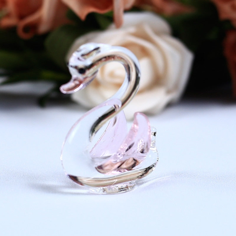 Costbuys  1PC Handmade K9 Crystal Swan Glass Animal Crafts for Home Decoration Accessories Gifts 6 Colors - Pink