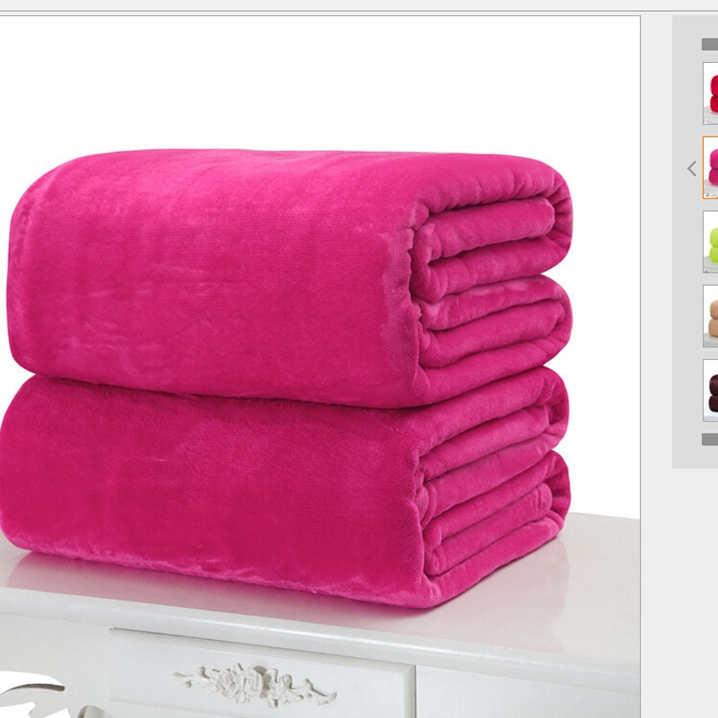 Costbuys  Small Super Warm Solid Warm Micro Plush Fleece Blanket Throw Rug Sofa Bedding Throw Rug Sofa Bedding Home Office Use -