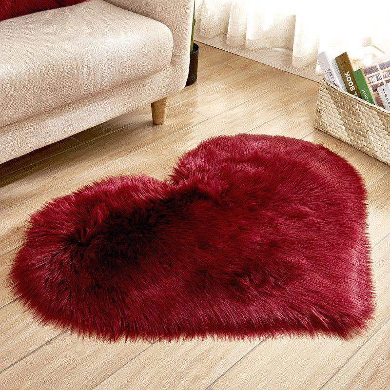 Costbuys  Love Heart Rugs Artificial fur Sheepskin Hairy Carpet Bedroom Living Room Decor Soft Shaggy Area Rug Carpet - Red Wine