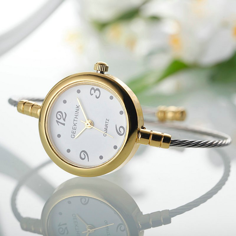 Costbuys  Fashion Quartz Watch Women Bracelet Ladies Rose Gold Watch female Simple Ring steel band casual - Gold Silver