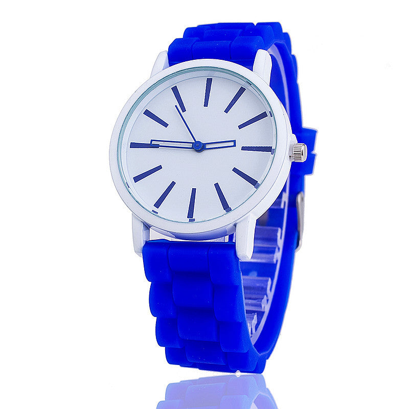 Costbuys  Casual Watch Unisex Quartz watch 12color men women Analog wristwatches Sports Watches Rose Gold Silicone watches - blu