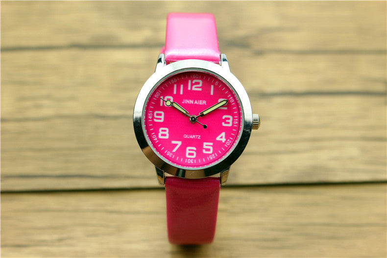 Costbuys  Children lovely 7 colors dial leather watch little boys and girls luminous hands gift clock - rose