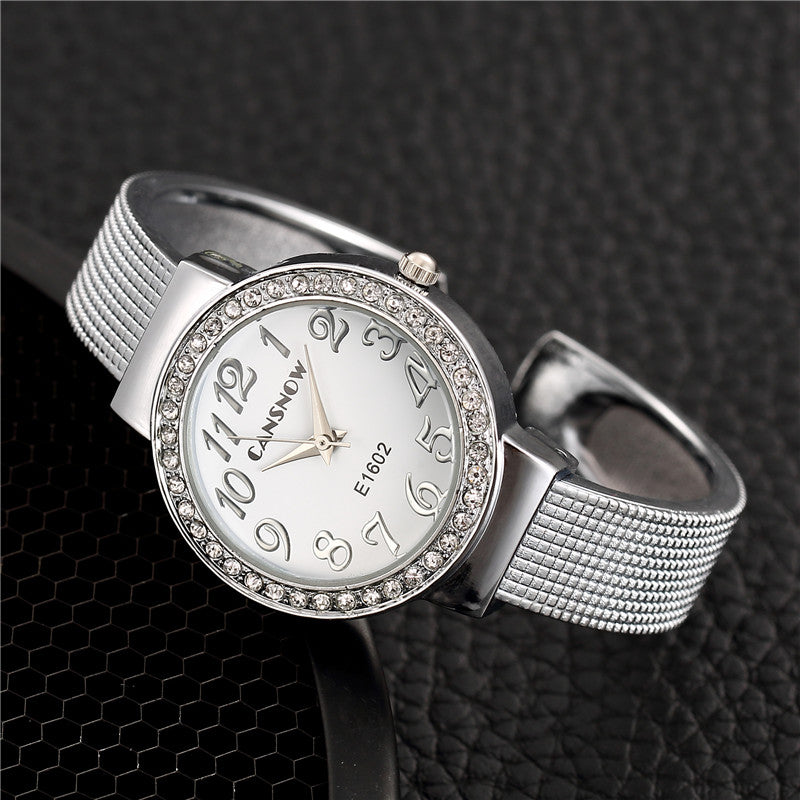 Costbuys  Fashion Ladies Women Dress Watch Bracelet Watches Luxury Small Dial Silver Wristwatch Stainless Steel - Silver White
