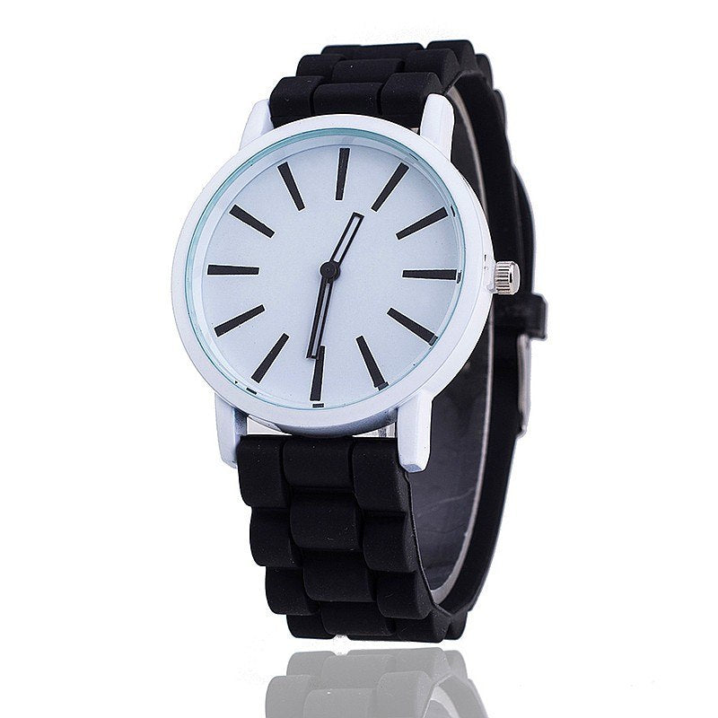 Costbuys  Casual Watch Unisex Quartz watch 12color men women Analog wristwatches Sports Watches Rose Gold Silicone watches - bla