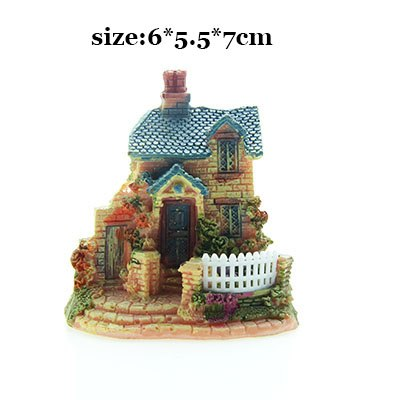 Costbuys  Artificial Mini Micro House Resin Crafts Fairy Garden Decoration Home Garden Decoration Accessories - 02 / 6x5x7cm