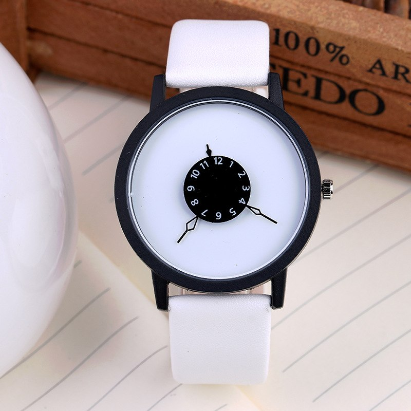 Costbuys  Creative Casual Men Women Watches Luxury Sport Watch student Leather Band Analog Quartz Wrist Watch - White