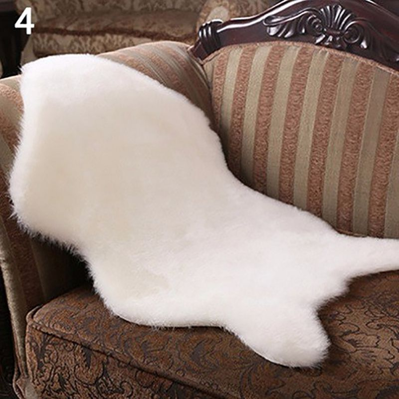 Costbuys  Soft Faux Sheepskin Rug Mat Carpet Pad Anti-Slip Chair Sofa Cover For Bedroom Home Decor Rugs Bedroom Faux Fur Rug Hom