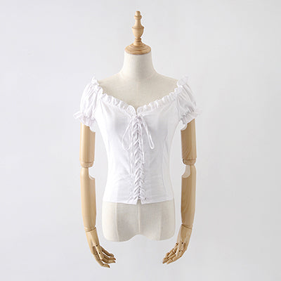 Costbuys  Summer Plaid Tops And Blouse Ruffles Lace Up Square Neck White Shirt Women Puff Sleeve Casual Blouse - White / S
