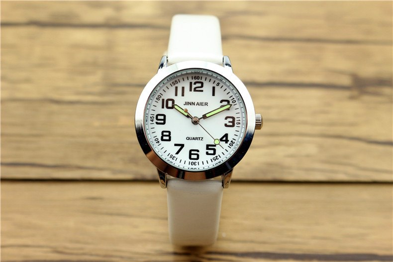 Costbuys  Children lovely 7 colors dial leather watch little boys and girls luminous hands gift clock - White