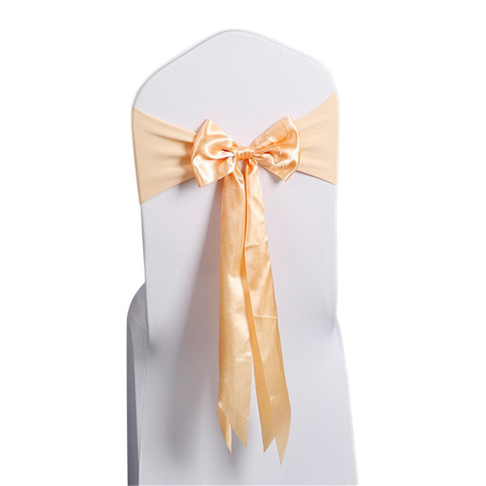 Costbuys  10pcs/Champagne Wedding Decoration Chair Satin Sashes Colorful Satin Chair Sashes Bow Tie for Hotel Banquet Chair - Ch