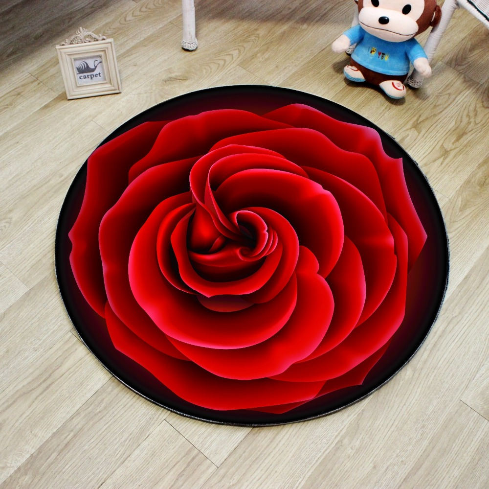 Costbuys  High Quality 3D Red Rose Round Carpet Diameter 60/80/100/120/160CM Polyester Living Room Carpet Chair Rug Bath Mat Hom